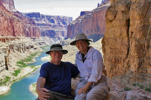 Three years ago I won a permit for an 18 day private boat trip down the Grand Canyon. This photo shows Peggy and I perched high above the Colorado River on a hiking day trip.