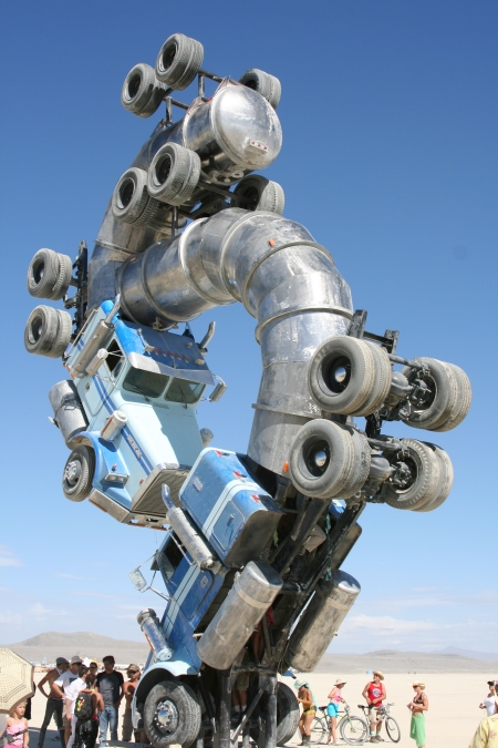 Two oil tankers provide an interesting Sculpture at Burning Man