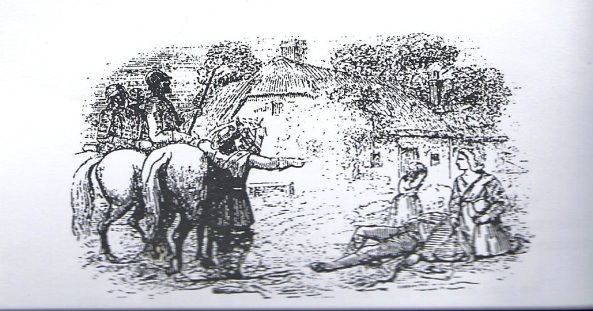 An early sketch of John Brown the Martyr of Priesthill Scotland being shot down by Bloody Clavers.