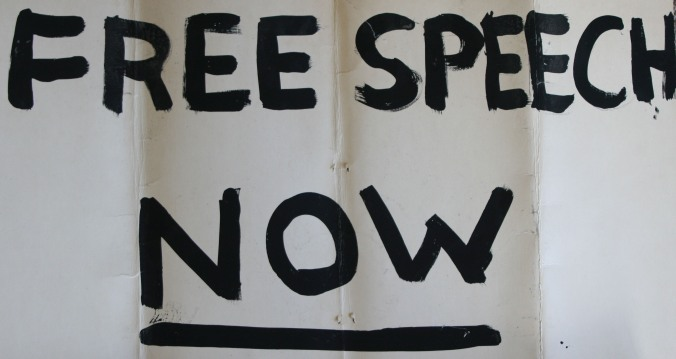 Wrinkled and showing signs of age, this is the original sign I carried in December of 1964 when the police occupied UC Berkeley and participants in the Sproul Hall Sit-in were arrested.