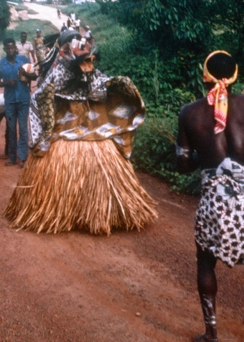 The Bush Devil is a powerful figure within traditional Liberian Culture. This is a Bush Devil of the Grebo Tribe that visited a Peace Corps Haight-Ashbury Party Liberia circa 1967.