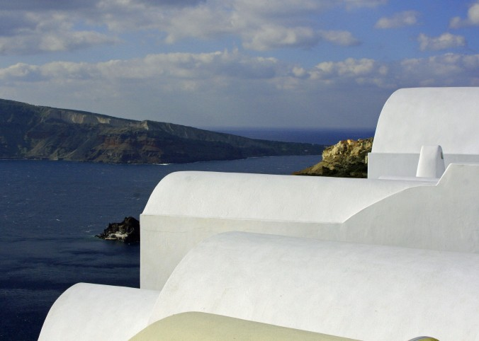 Peggy captured this artistic shot from Oia looking down on the Mediterranean.
