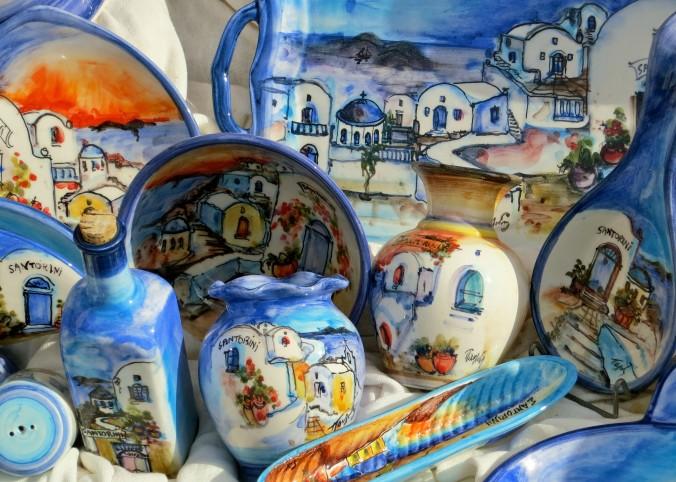 Event the souvenirs featuring Santorini were colorful.