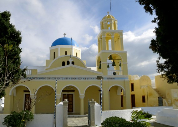 The Church of St. George in Oia, Santorini. Most, but not all of Santorini's churches featured a blue dome.