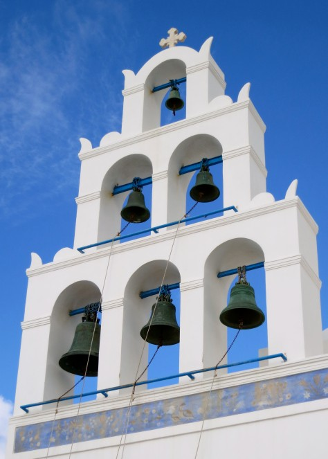 The bell tower of the Church of Panagia in Oia, Santorini.