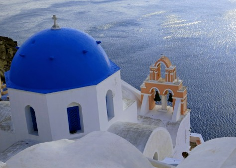 This is another perspective on the Santorini church shown above featuring its salmon colored bell tower.