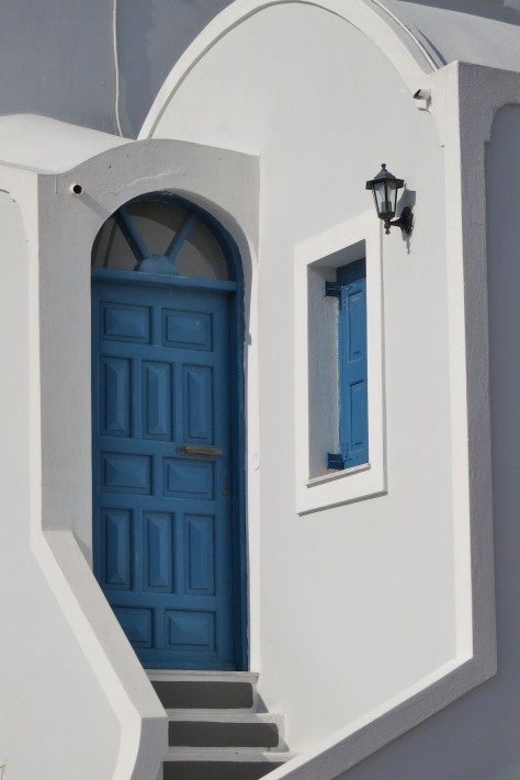 Blue was about as close as it got to being a common door color on Santorini.