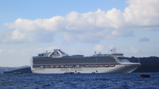 Our ship, the Crown Princess, anchored in the caldera located off Santorini.