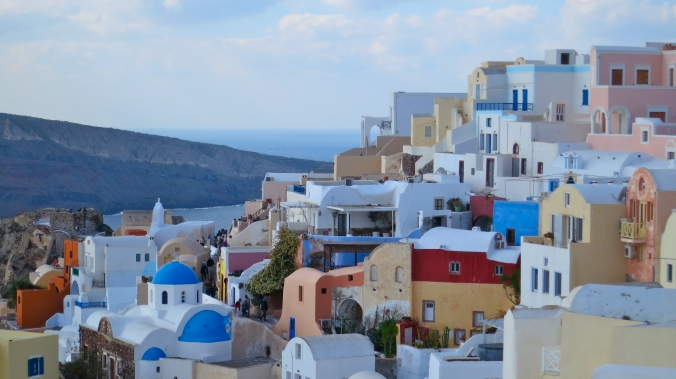Buildings cascade down the cliffs on the Greek island of Santorini located in the Aegean Sea.