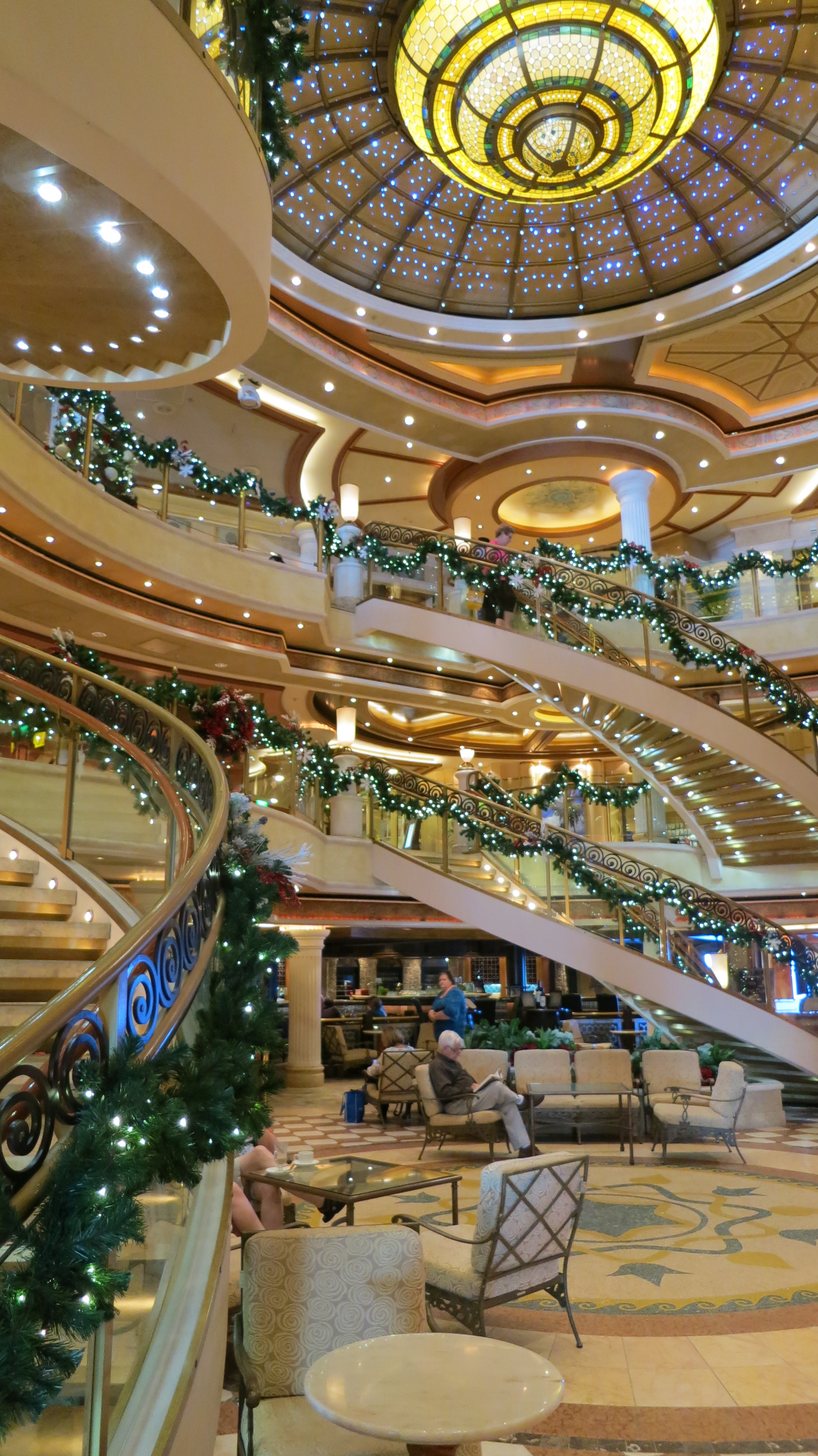 Cruise ships sell luxury and visits to exotic locations. This is an inside view of the Crown Princess.