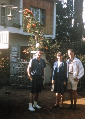 John and Chris Ogden join me in front of the Plum Hotel in Nairobi, Kenya during out 1967 adventure.