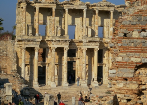 The most impressive use of columns among the existing ruins of Ephesus is in the beautiful Library of Celsus, which happened to be the third largest library in the ancient world and contained over 12,000 books.