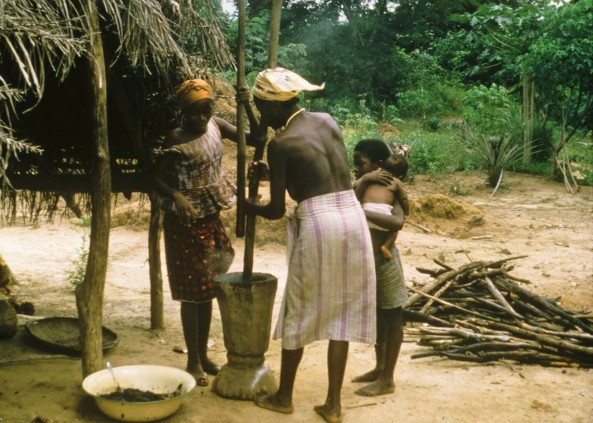 A Kpelle woman and her daughter take turns pounding palm nuts in this 1966 photo taken near Gbarnga, Liberia.