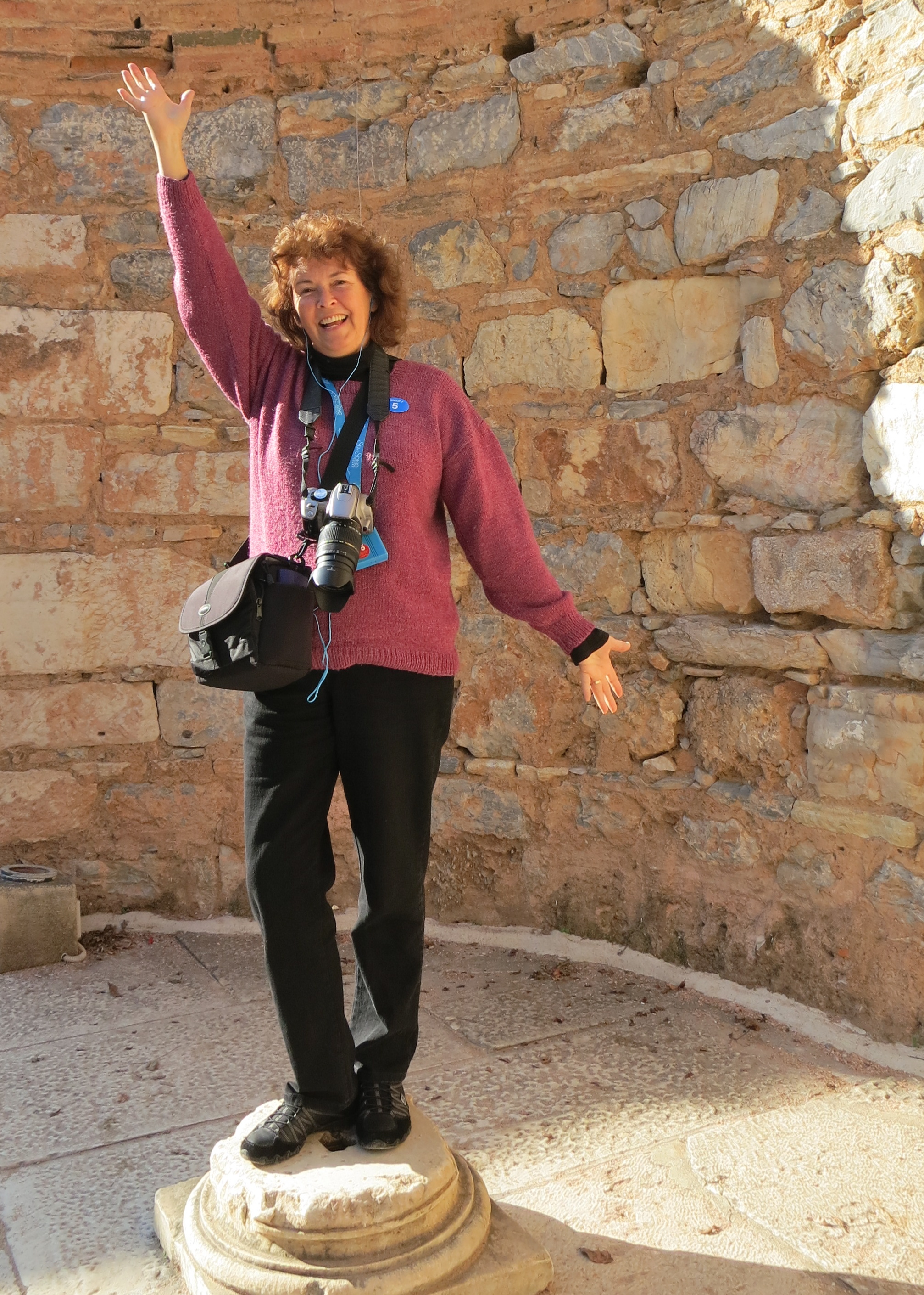 My wife Peggy, another powerful woman, poses on a pedestal inside the Library of Celsus that may have once accommodated the Greek goddess Athena. I didn't tell Peggy she was dancing on the grave of Celsus.
