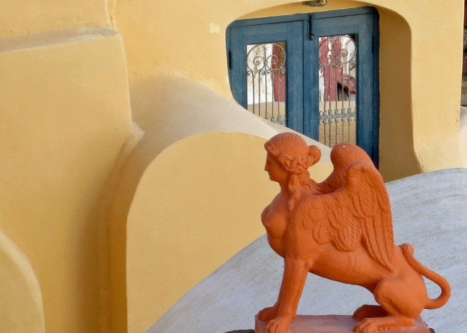 This sphinx in Oia provided an artistic touch and seemed right at home.