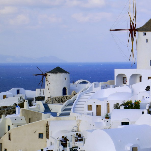Retired windmills are found on both Santorini and the island of Mykonos.