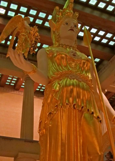 The replica of the Parthenon in Nashville, Tennessee has a replica of what the statue of Athena located in the historic Parthenon may have looked like.