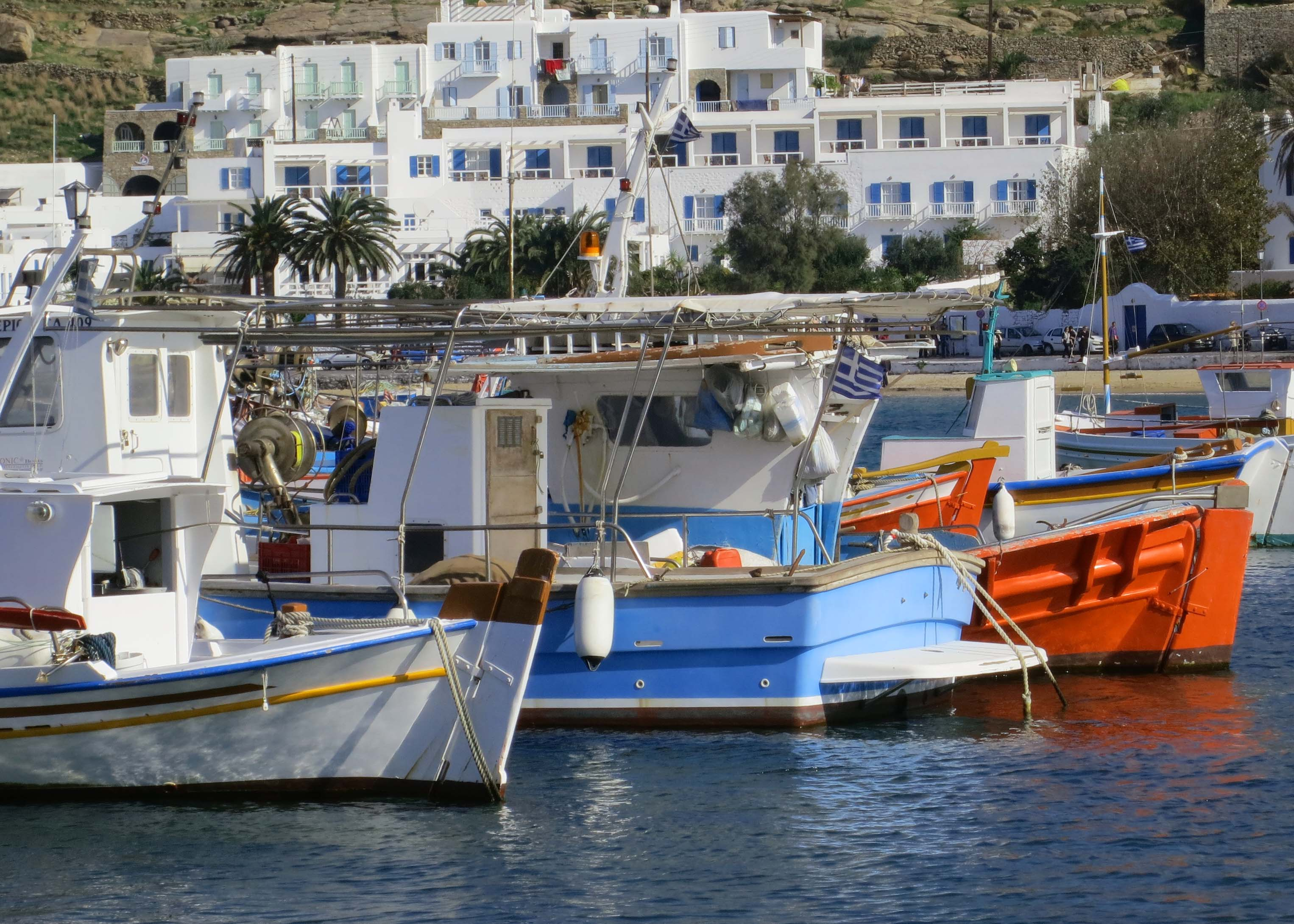 Idle fishing boats in the Mykonos harbor.