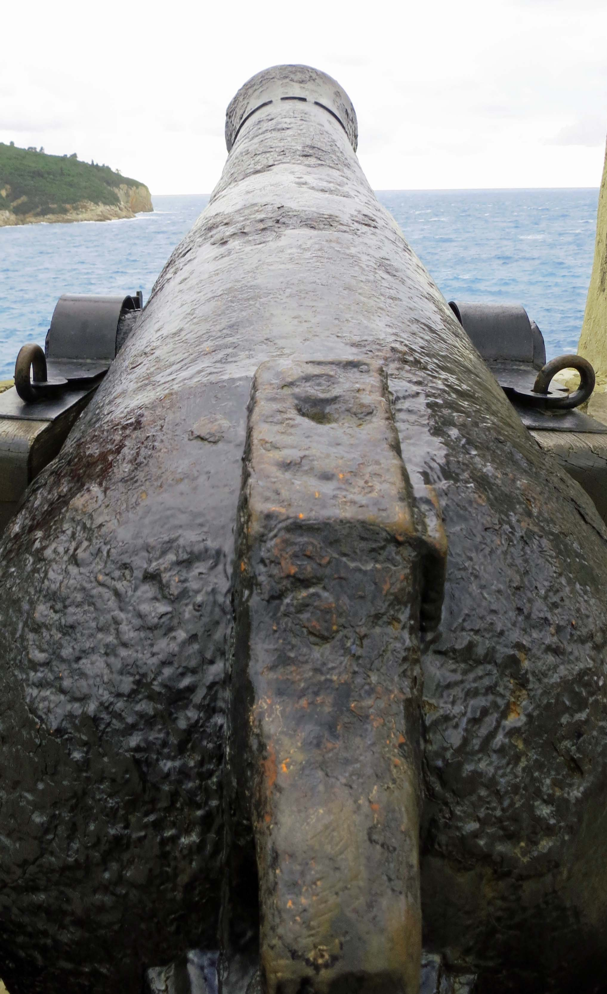 A cannon's perspective looking out from the walls of Dubrovnik.
