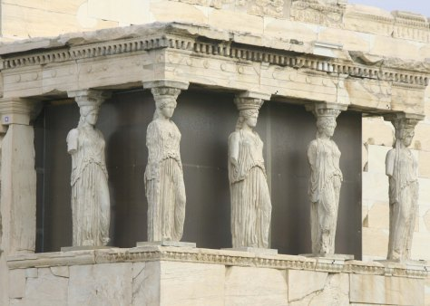 Another important building on the Acropolis is the Erechtheion, which includes the Porch of the Caryatids, lovely Greek maidens who have been turned into graceful columns.