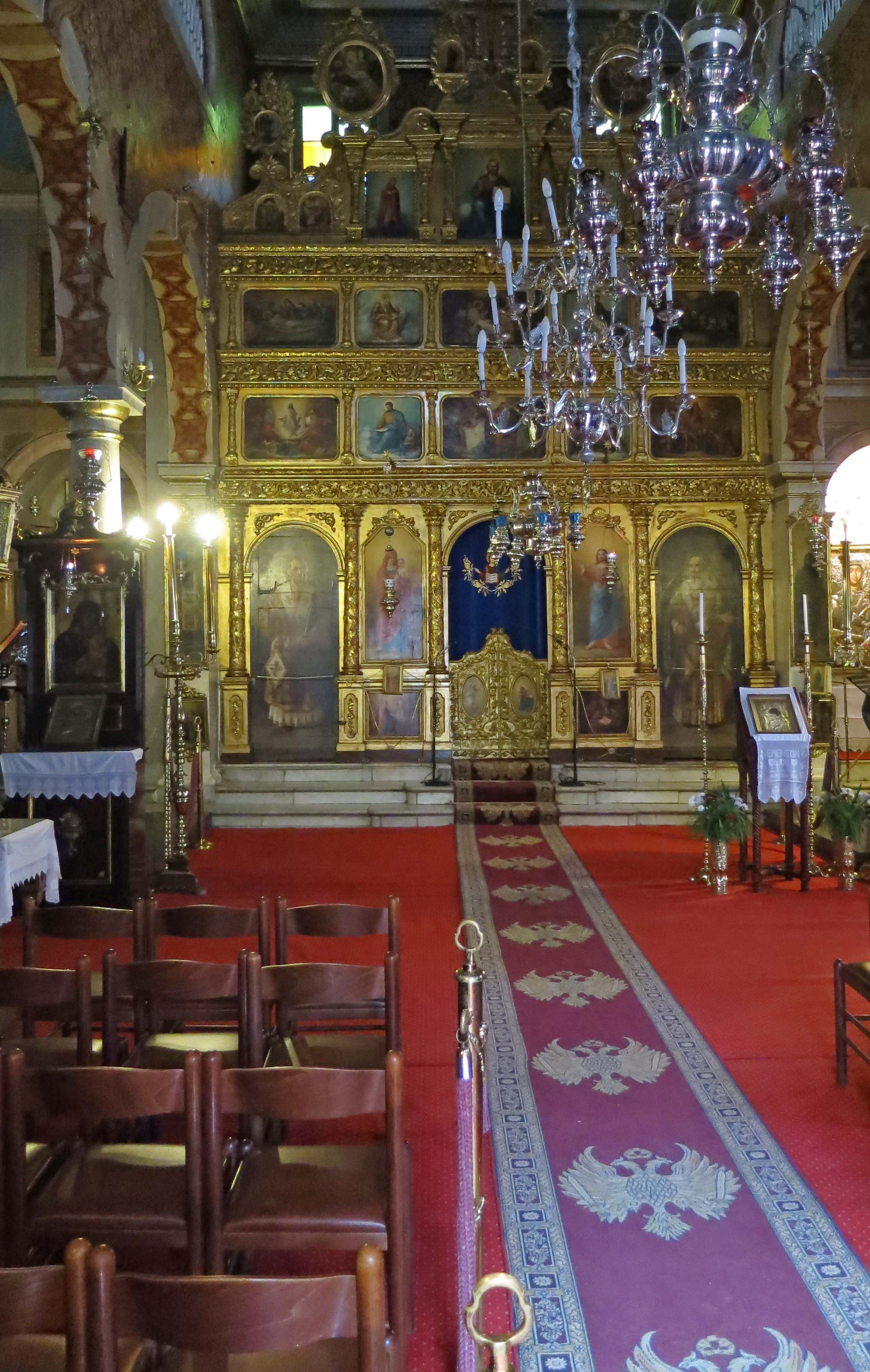 The adventure involved in travel is experiencing new sites and cultures. This was a beautiful Greek Orthodox Church we walked into.