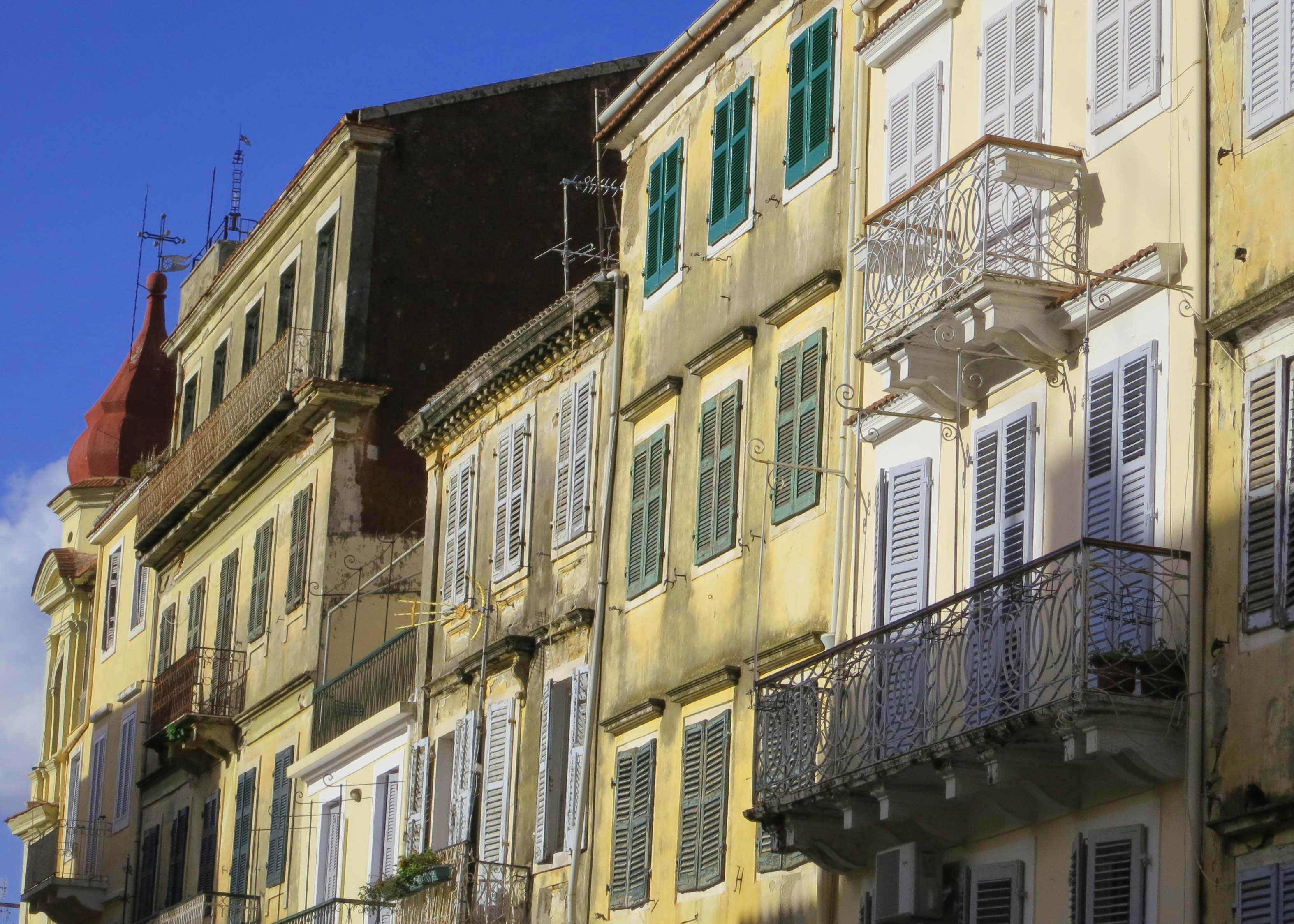 Another view of Corfu buildings with their shutters and balconies.