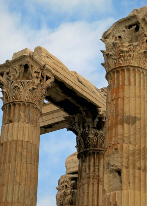 Another photo of the Zeus Temple in Athens. This one features the upper part of the columns with their Corinthian tops.