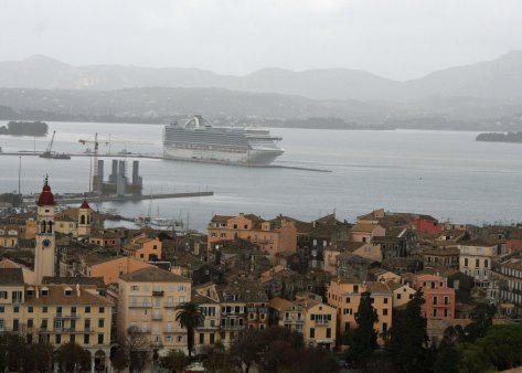 A final view of Corfu. This one captures our ship, the Crown Princess, in the background.