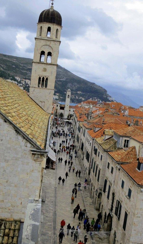 A view down the Stradun, Dubrovnik's main street. The Franciscan Monastery is on the left.