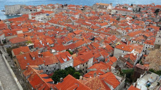 Looking down on Dubrovnik is like looking down on a sea of red. This photo is taken from Minceta Tower, the highest point on the wall. The Adriatic stretches across the top and the city's port is on the top left.