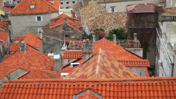 The contrast between new and older tiles is captured here. Many of the newer tiles represent repairs made after the Siege of Dubrovnik in 2000-2001. The trellis in the middle covers a garden, of which many are found through out the city nestled between buildings.