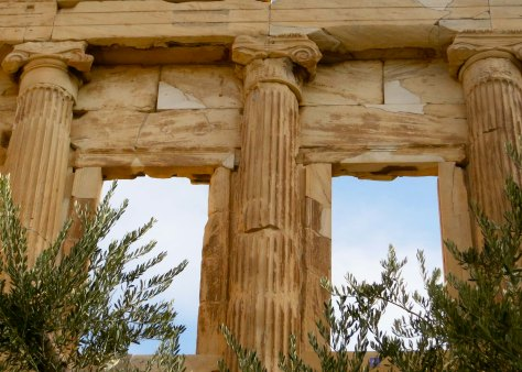 A close up of the Elechtheion, windows, and an olive tree representing Athena's gift to Athens.