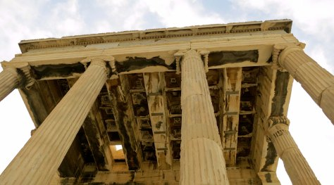 This is a shot looking upward at the end of the Erechtheon opposite the Porch of the Caryatids.