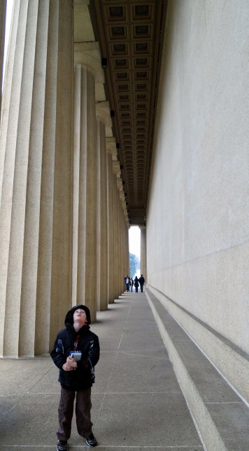 My grandson Ethan provides an interesting perspective in this Nashville photo on the original size of the Parthenon.