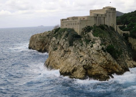 Another view of the Fort of St. Lawrence in Dubrovnik. It was a stormy day as shown by the waves from the Adriatic Sea breaking on the rocks.