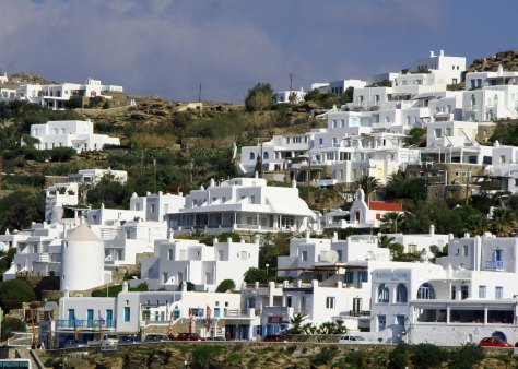 White is the common color for buildings on Mykonos, Santorini and other islands of the Cyclades in the Aegean Sea.