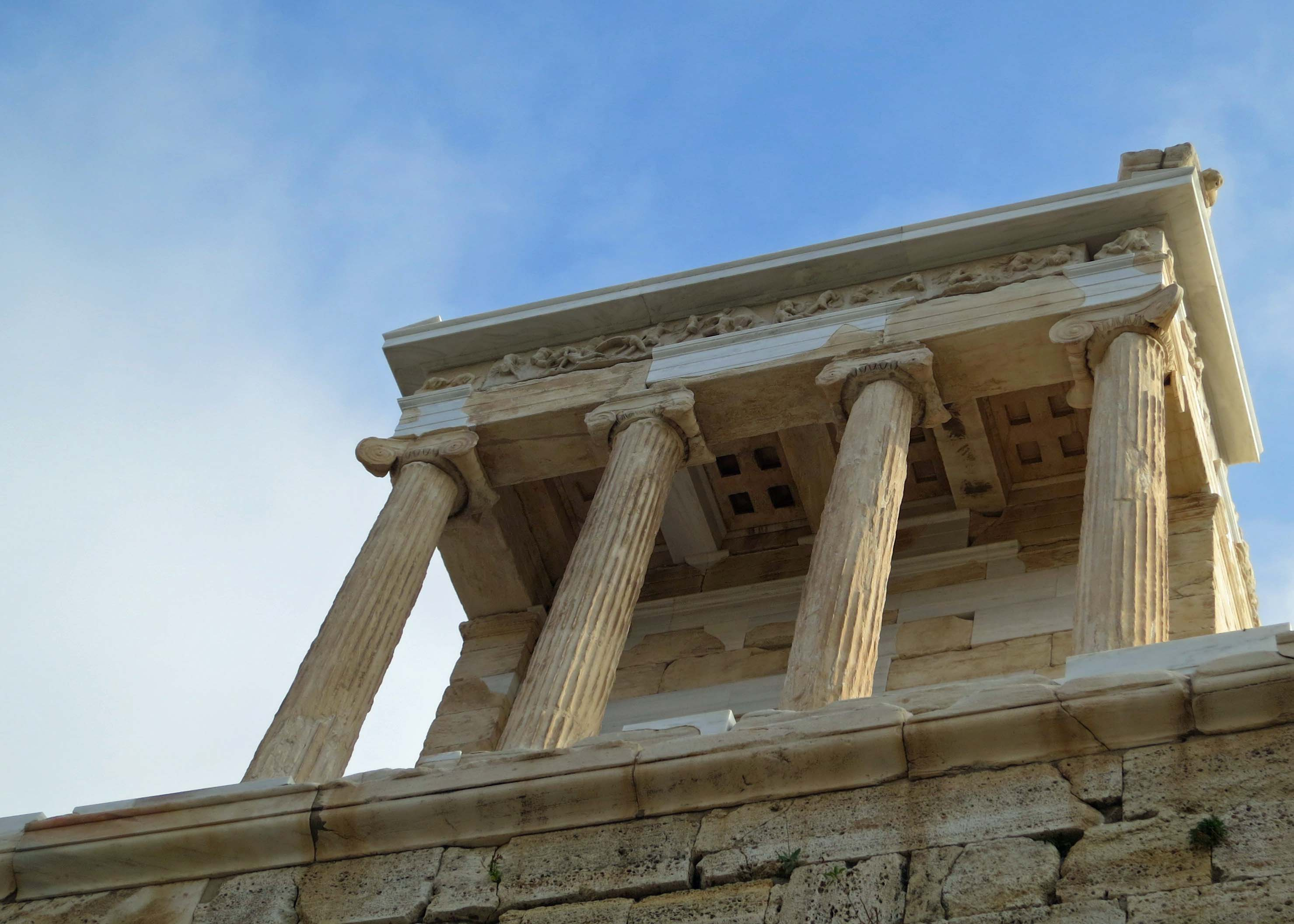 Looking upward at the Temple of Nike on the Acropolis.