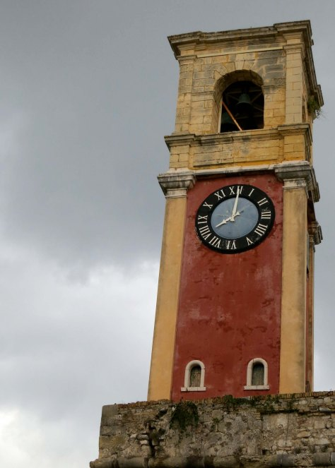The clock tower located on the Old Fortress of Corfu.
