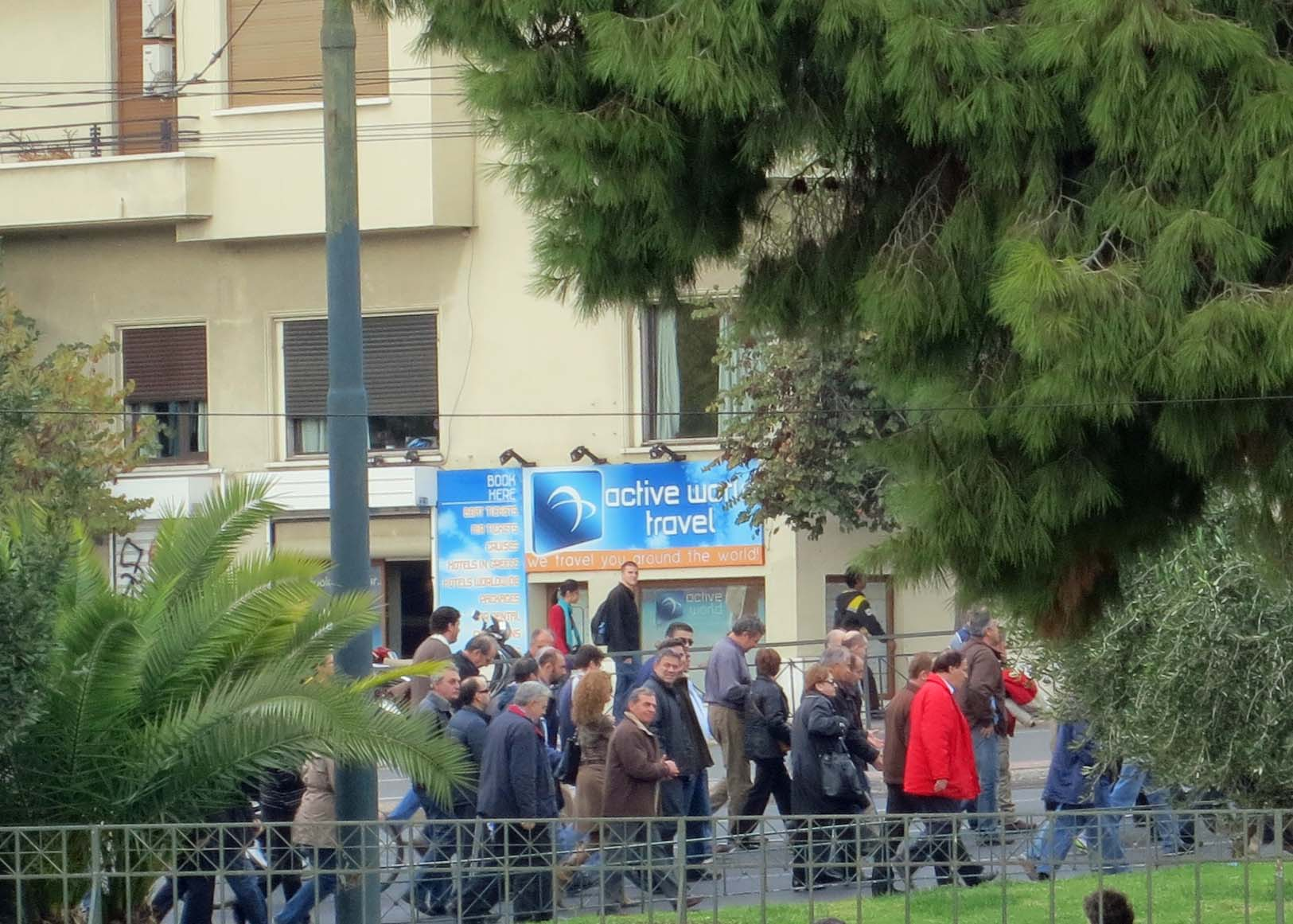 Standing near the Temple of Zeus, we watched as yet another group of protestors hit the streets of Athens.