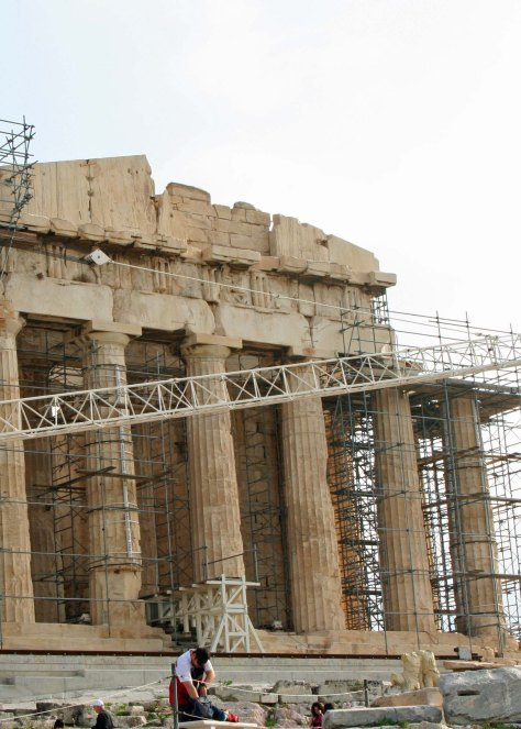 Extensive renovation work is being done on the Parthenon, as well as other buildings on the Acropolis. ( Photo by Peggy Mekemson)