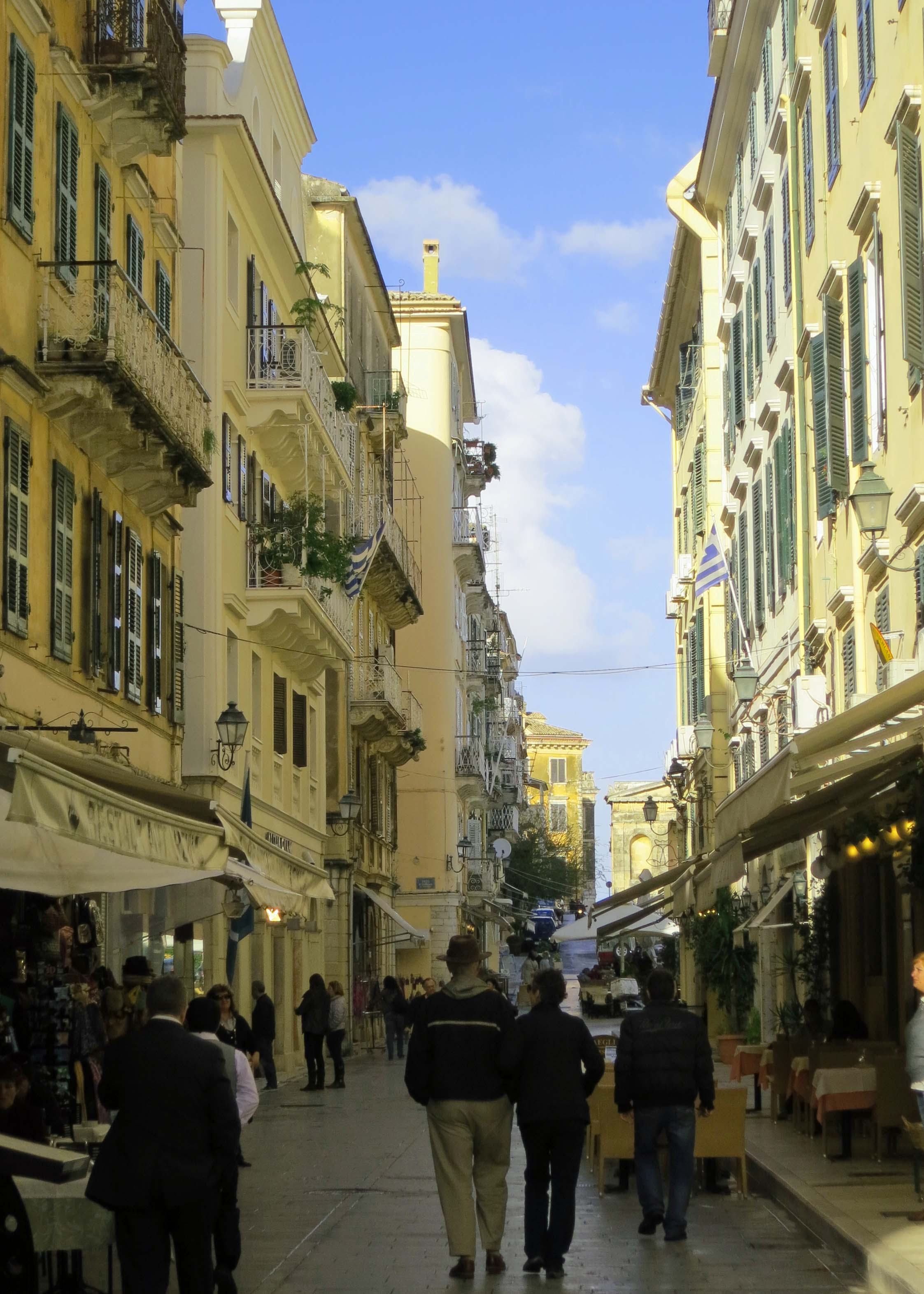 A Corfu Street scene. Once again we enjoyed the narrow, car-free streets as we did time and again in Europe.