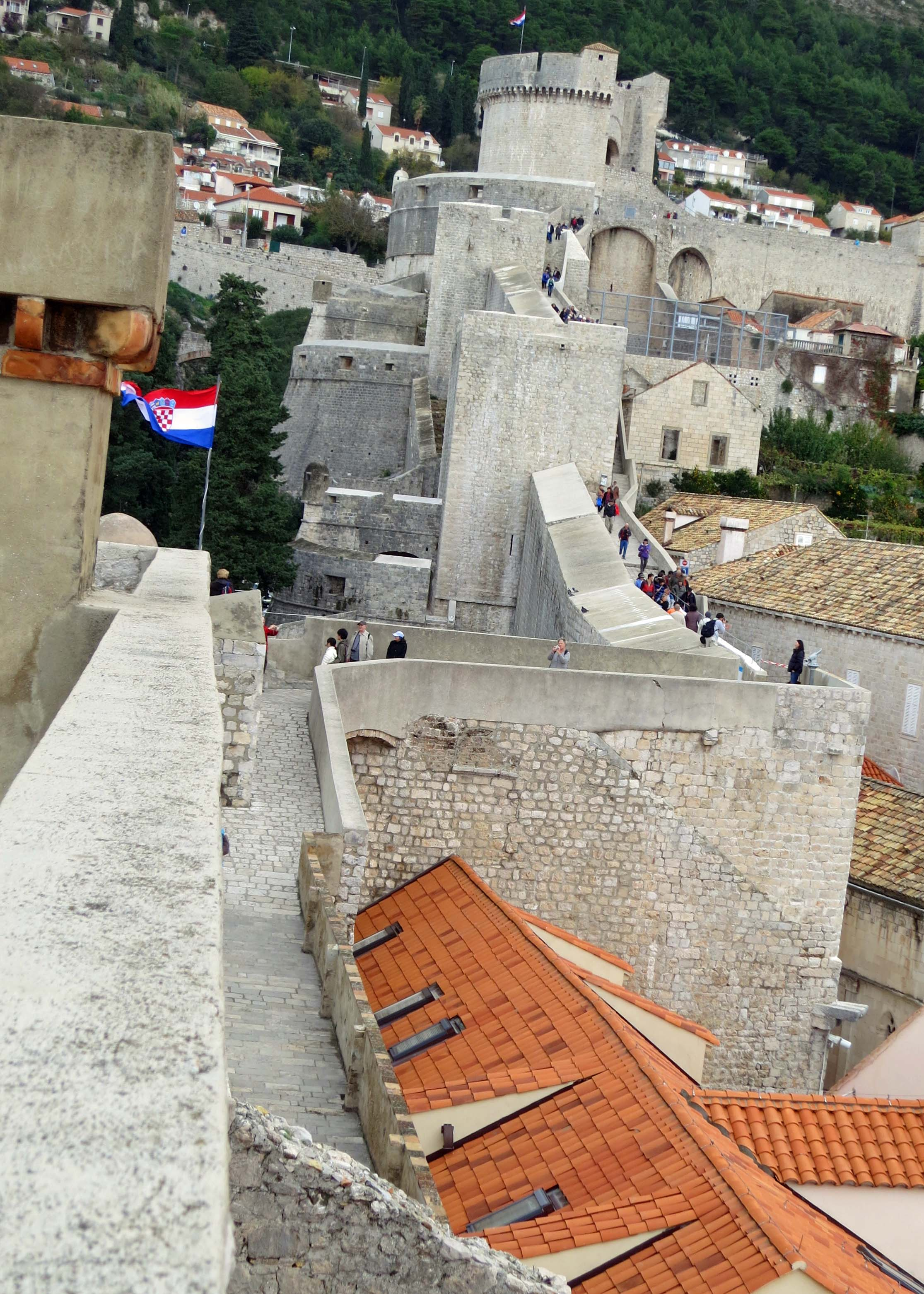 This photo looks up toward Minceta Tower, the highest point on the walls of Dubrovnik.