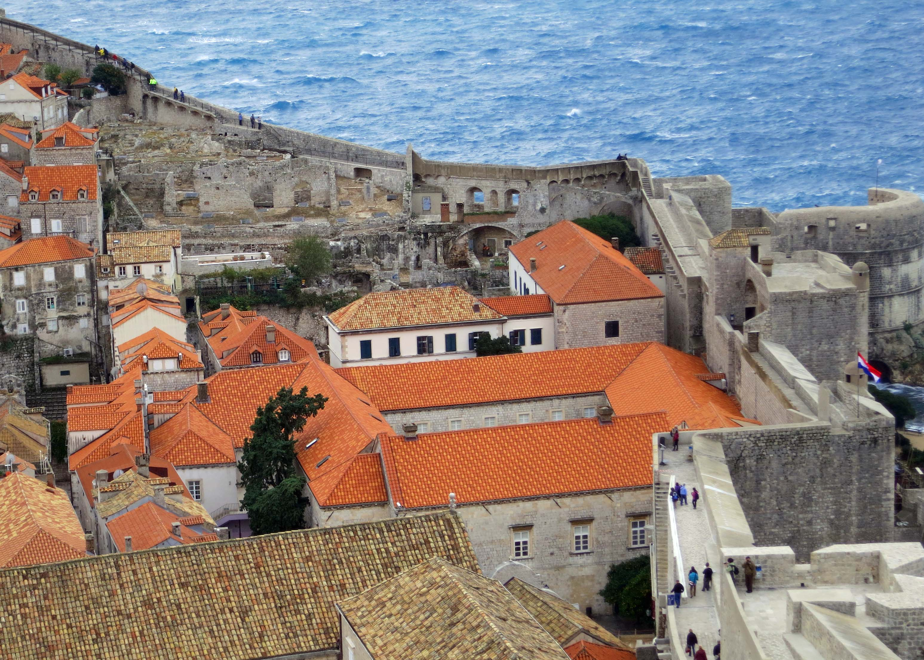 The walled city of Dubrovnik is known as the Pearl of the Adriatic. The walls around the city are listed as a World Heritage Site.