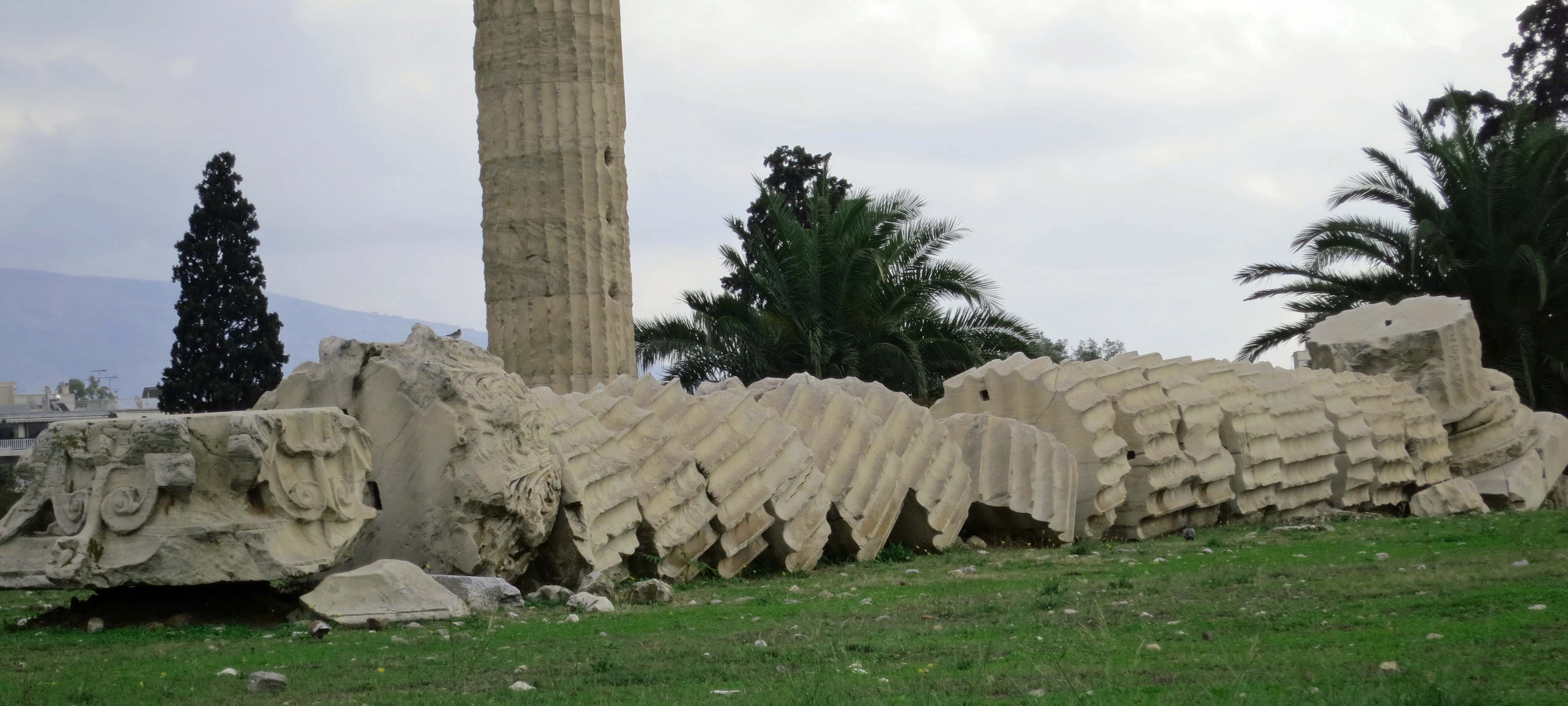In 1852 a storm topped one of the massive columns from the Temple of Zeus and it has remained there ever since.