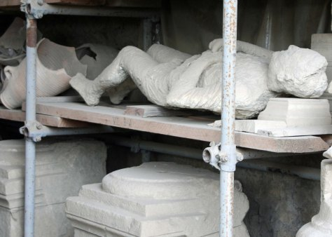 Several of the body casts in Pompeii were in storage.