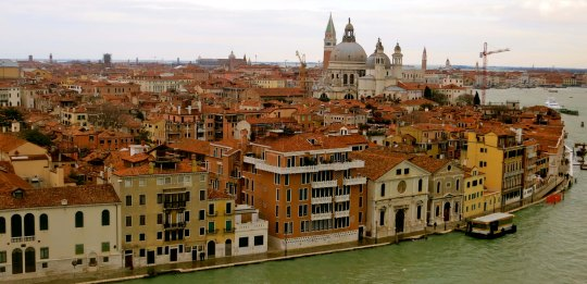 This photo looks back toward the Campanile. The opening on the right is the beginning of the Grand Canal. The church is La Salute, which was built as an offering of thanks at the end of the plague of 1630 when one third of the City's population died.
