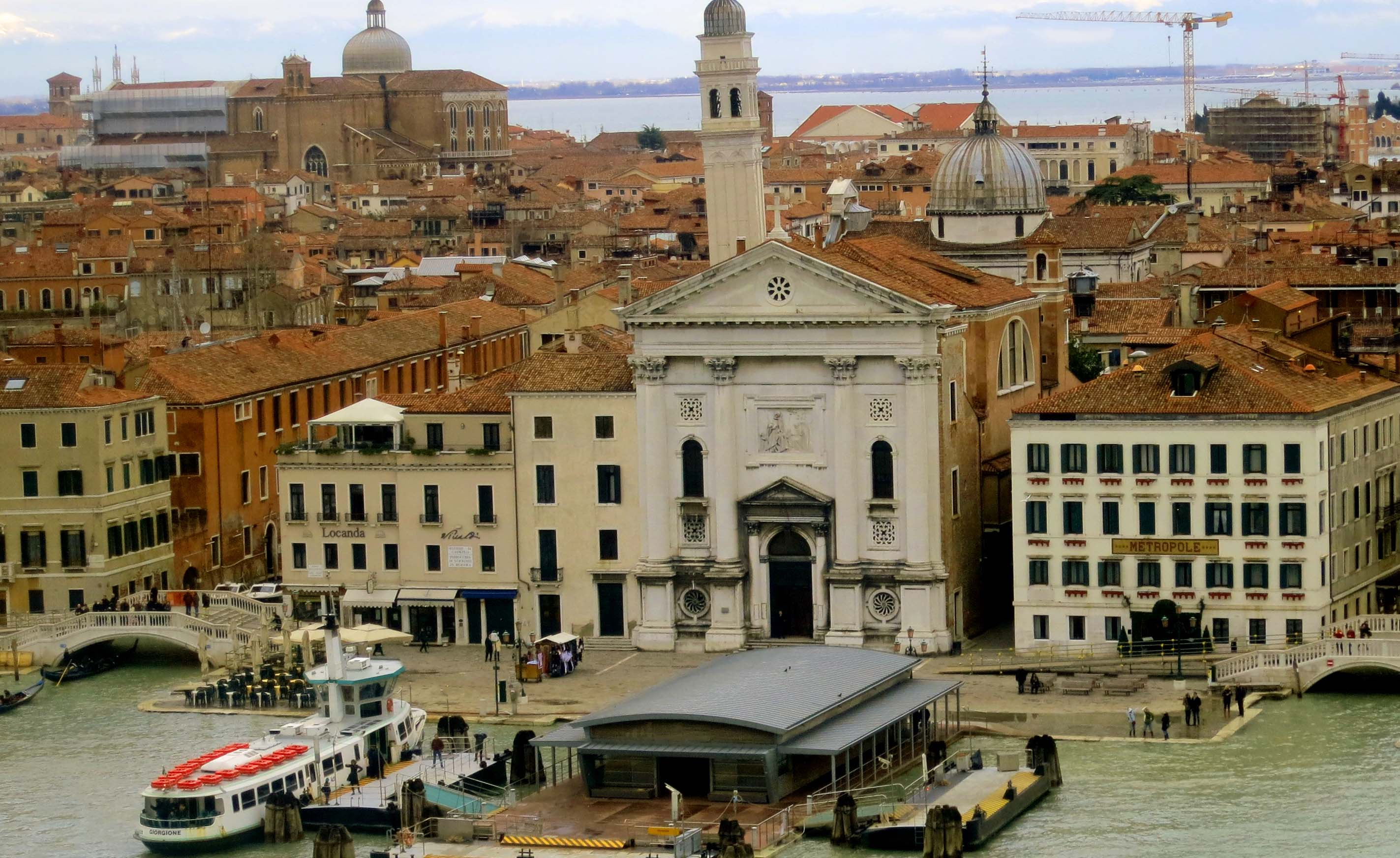 Perched on the top deck of the Crown Princess, it was easy to see that Venice is an island, a relatively small island. Plopped down on a marsh, it is sinking into the sea at about 9 inches per century. Vivaldi, BTW, once offered music lessons at the Hotel Metropole on the right.