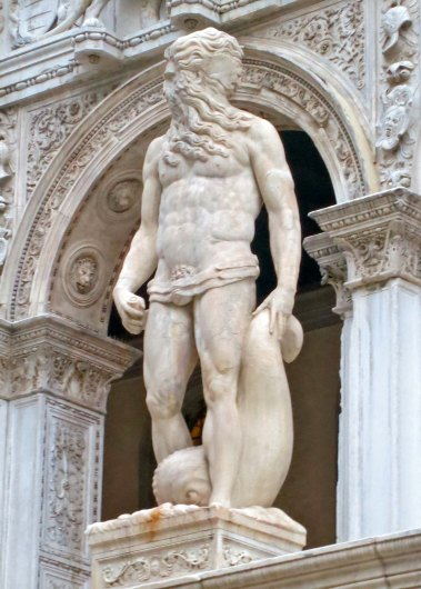 Neptune, symbol of Venice's seapower, welcomes visitors to the Doge's Palace.