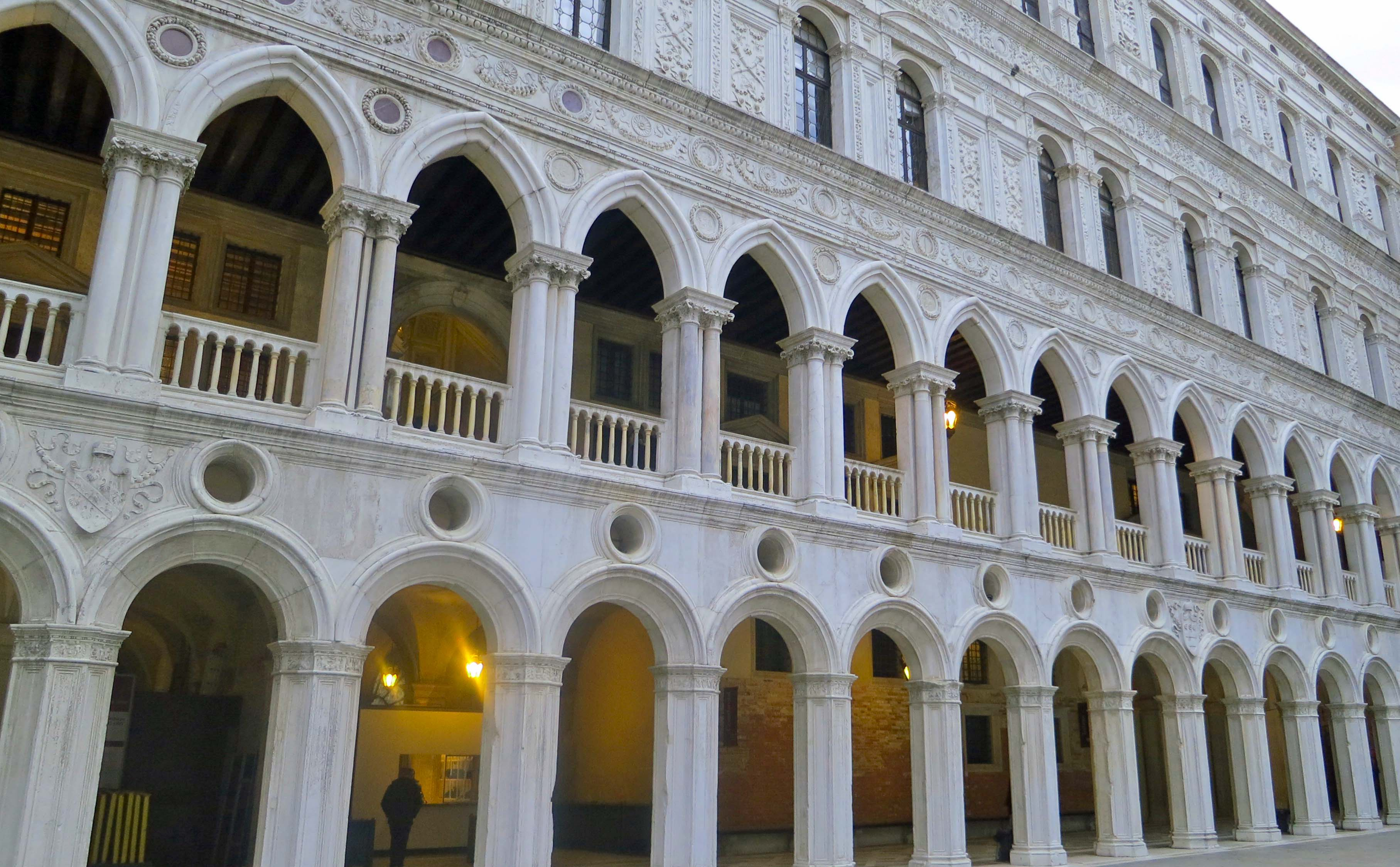 A view of the inner courtyard of the Doge's Palace in Venice.