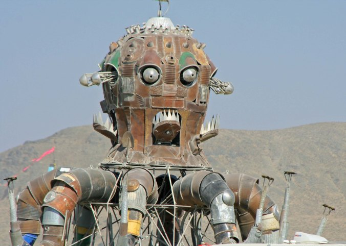 El Popo Mechanico, a major example of steampunk, rests up for another fiery night at Burning Man.